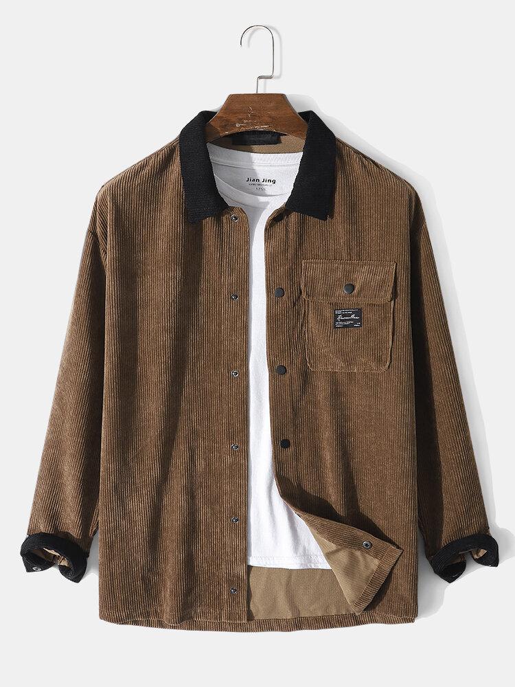 Mens Corduroy Contrast Patchwork Snap Button Flap Pocket Casual Shirt Jacket
