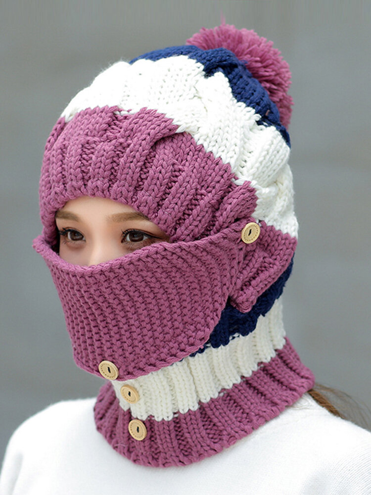 Women Winter Warm  Masks Knitted Hat Collar Scarf Set Outdoor Cycling Windproof Plus Hood Hat