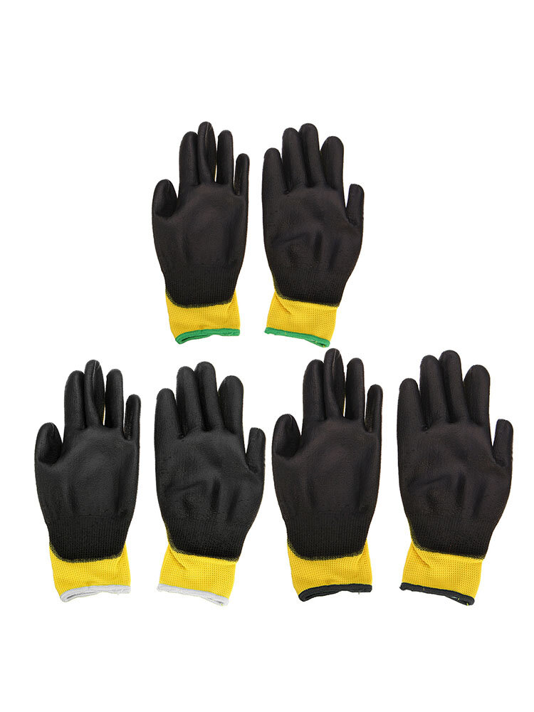 12Pairs PU Nitrile Coated Safety Work Gloves Home Garden Builders Grip Anti-slip Size M/L/XL