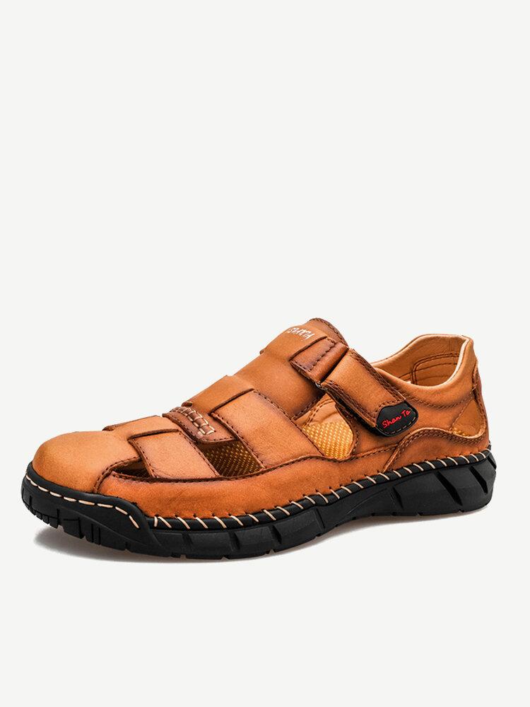 Men Closed Toe Outdoor Non Slip Woven Leather Sandals