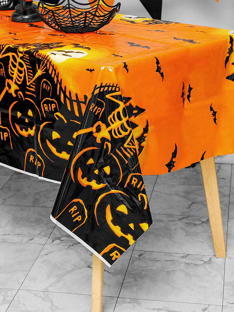 1 PC Halloween Pattern Plastic Disposable Tablecloth Pumpkin Wipeable Tablecloth Table Covers for Party Table Decorations