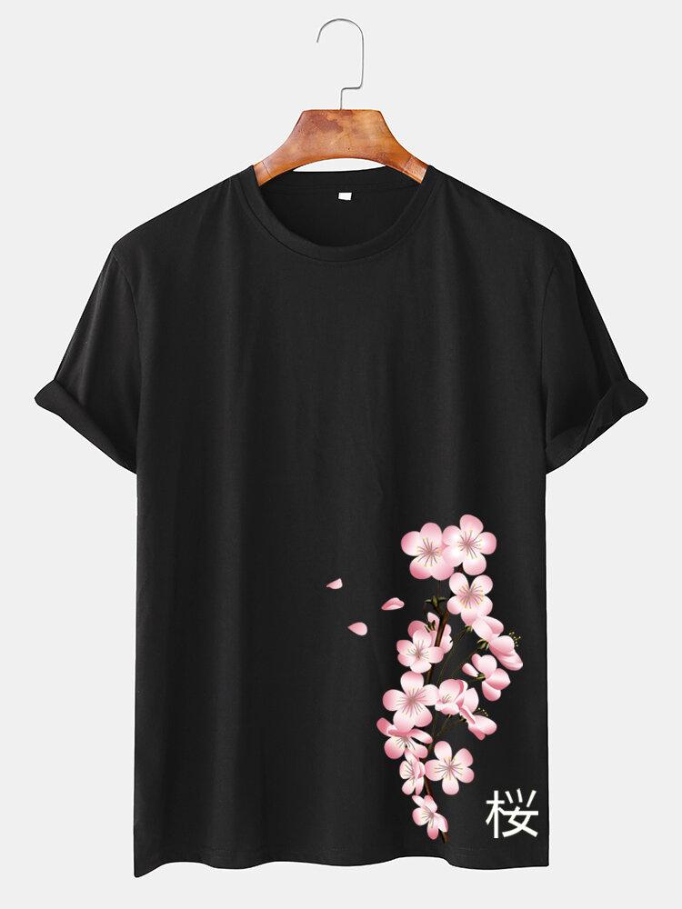 メンズチェリープリント和風Oネック半袖Tシャツ