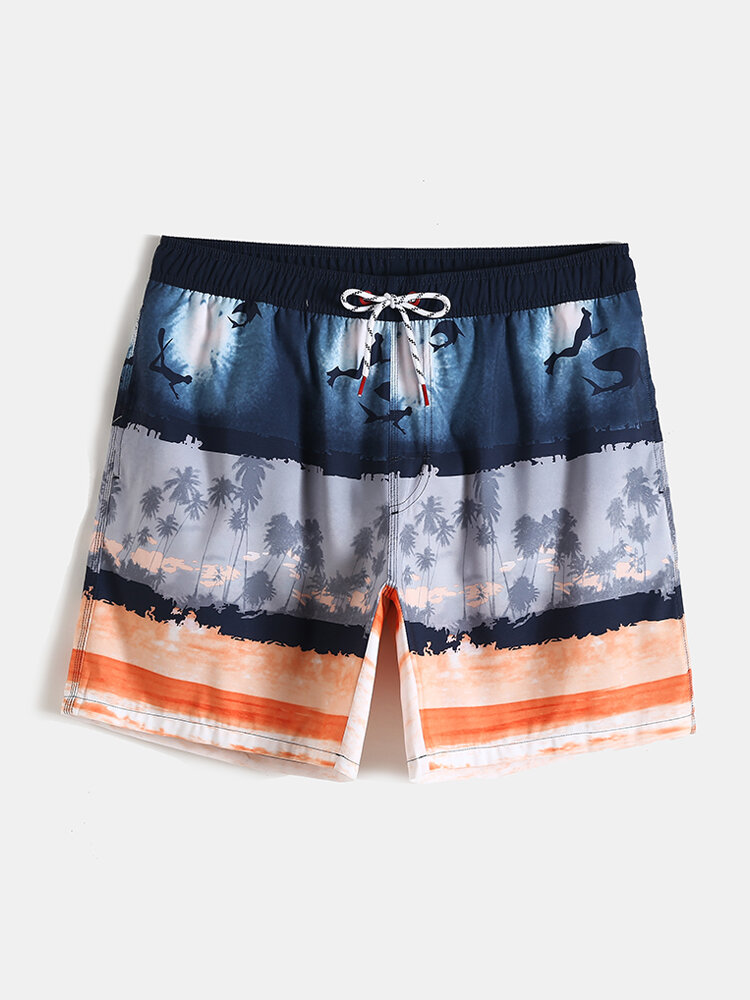 Orange Palm Tree Undersea Print Striped Vacation Beach Shorts With Mesh Liner For Men