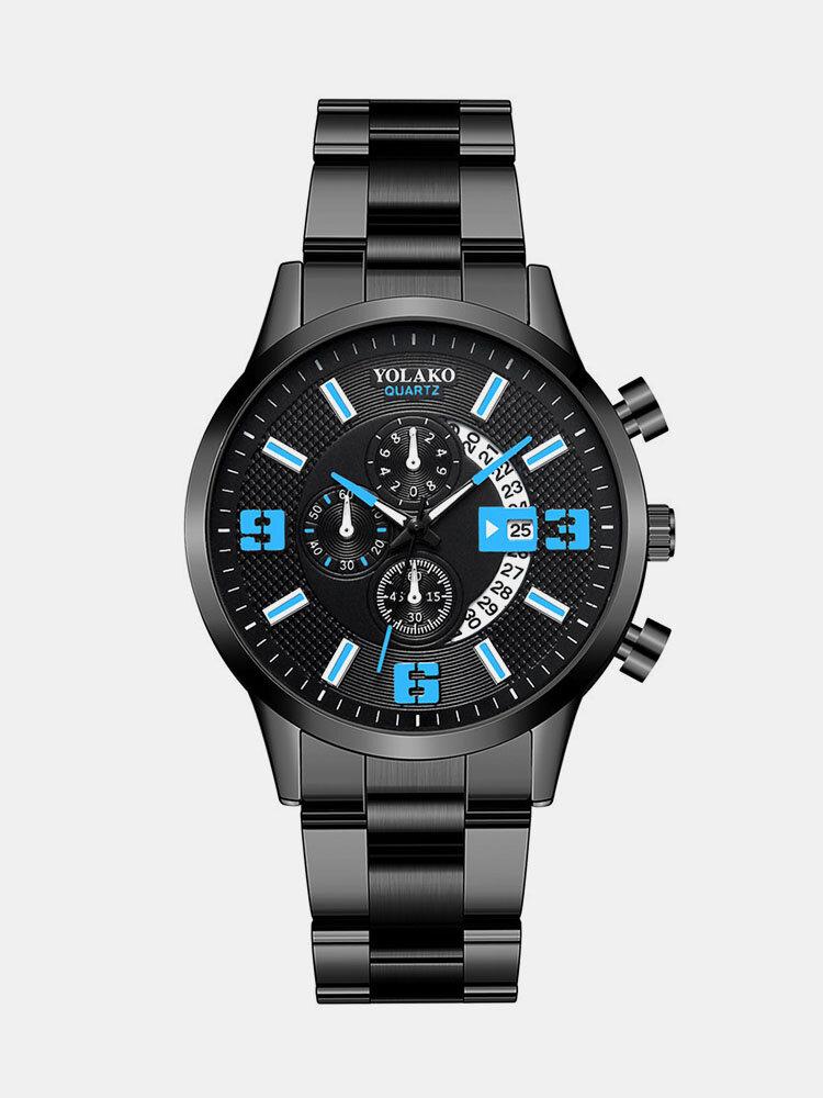 سبيكة رياضية Black غير القابل للصدأ فولاذ حزام Watch رقمي كوارتز Watch