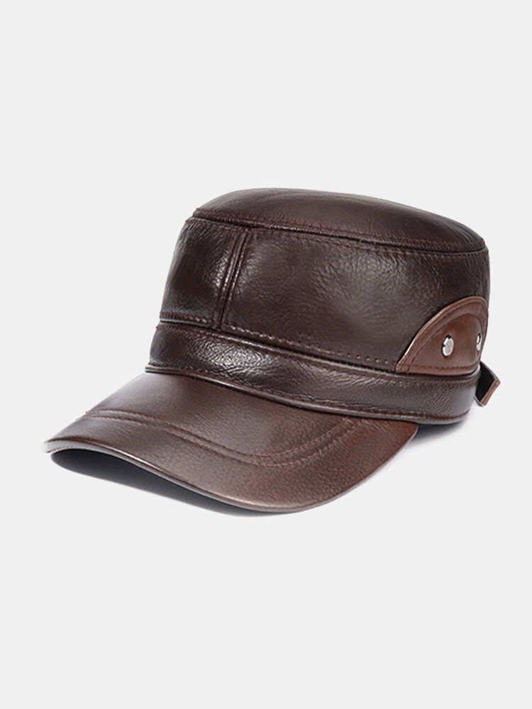 Men's Leather Top Layer Cowhide Flat Top Big Eaves Warm Autumn Winter Thickening And Cotton Earmuffs Baseball Hat