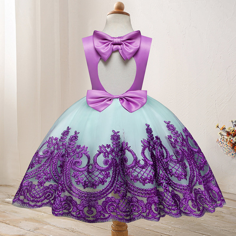Lace Embroidery Girls Patchwork Princess Tutu Dress For 1Y-7Y