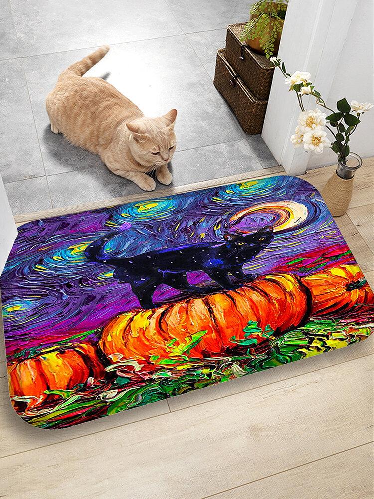 Cat And Pumpkin Patrón Alfombrillas de franela Absorción de agua Antideslizante Alfombrilla de baño Alfombra de puerta
