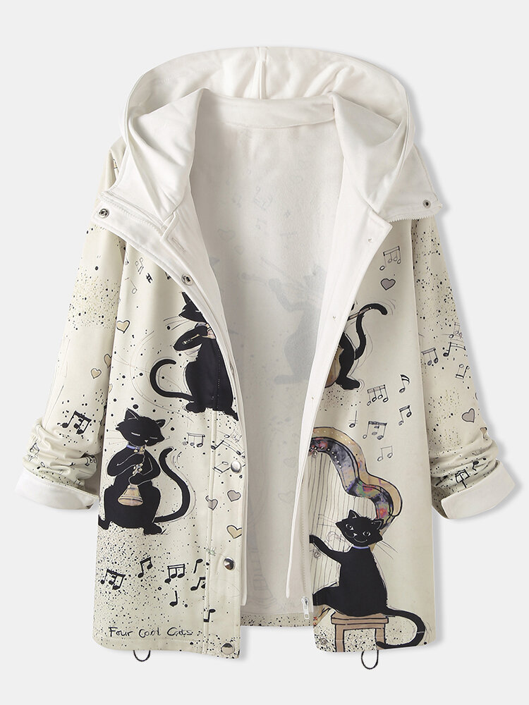 Cartoon Cat Print Patchwork Long Sleeve Thick Hooded Coat For Women