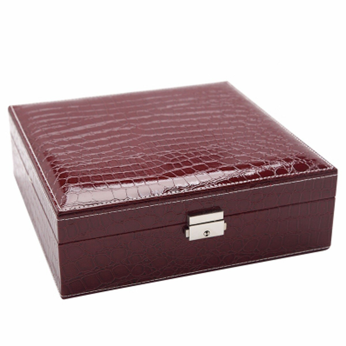 Mirror Lock Leather Storage Organizer Jewelry Box