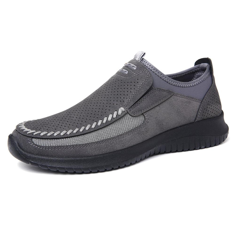 Menico Homens Costura Microfibra Couro Oco Sapatos Casuais