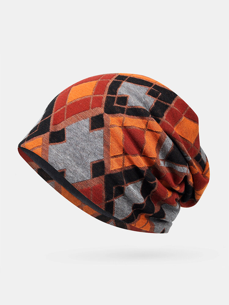 Women Cotton Plus Velvet Keep Warm Diamonds Pattern Casual Personality Elastic Beanie Hat