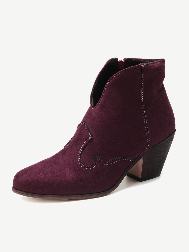 Large Size Women Retro Pointed Toe V Shape Chunky Heel Ankle Boots
