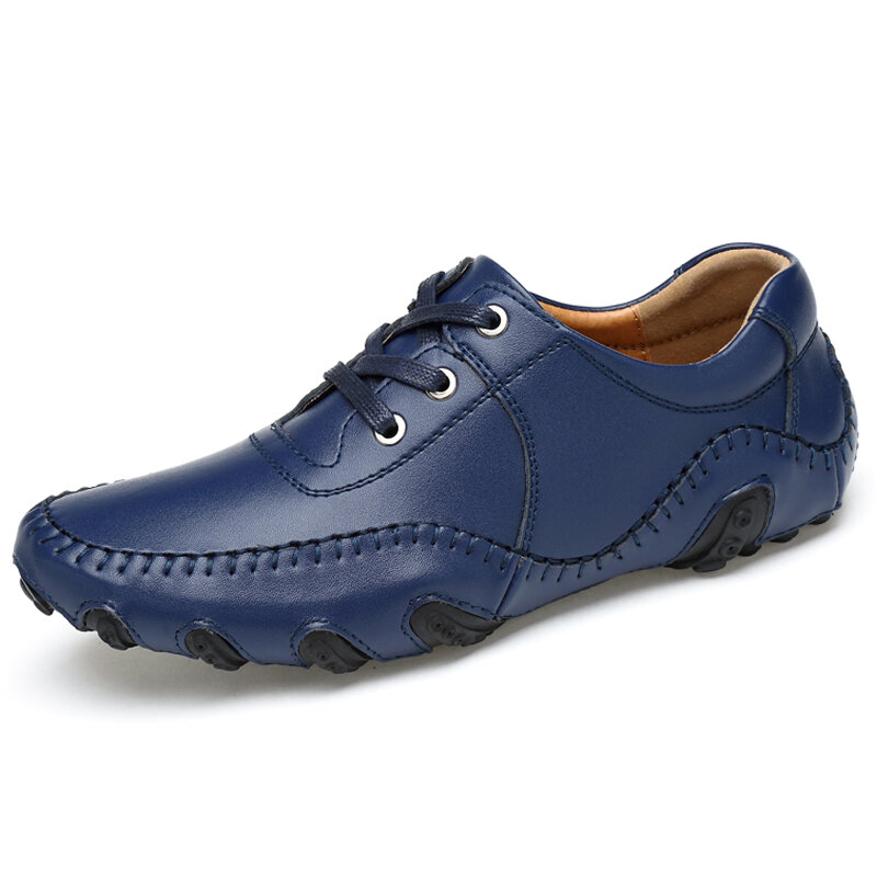 Men Hand Stitching Leather Non Slip Soft Sole Large Size Casual Driving Shoes
