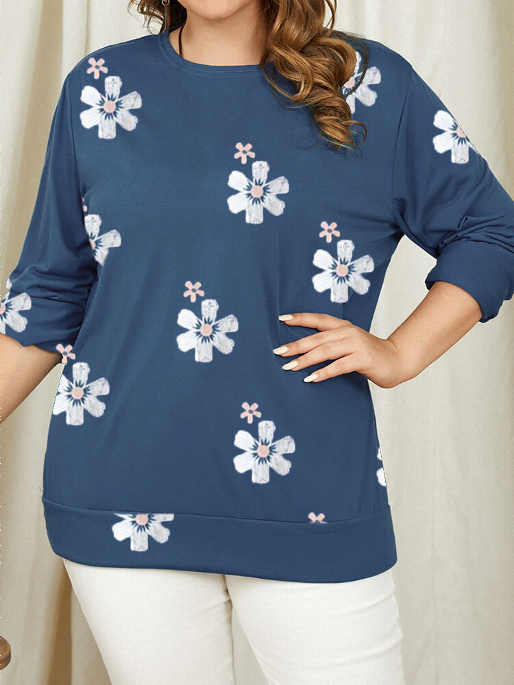 Floral Printed O-neck Casual Long Sleeve Plus Size T-Shirt For Women