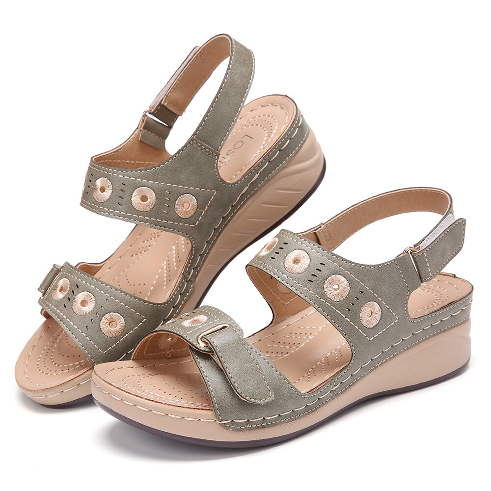 LOSTISY Comfort Stitching Double Hook Loop Lightweight Wedges Sandals