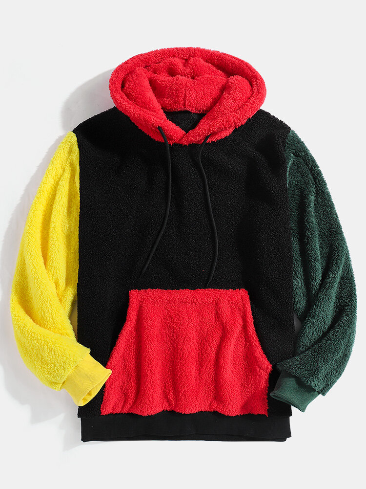 Mens Contrast Color Pouch Pocket Teddy Hoodie