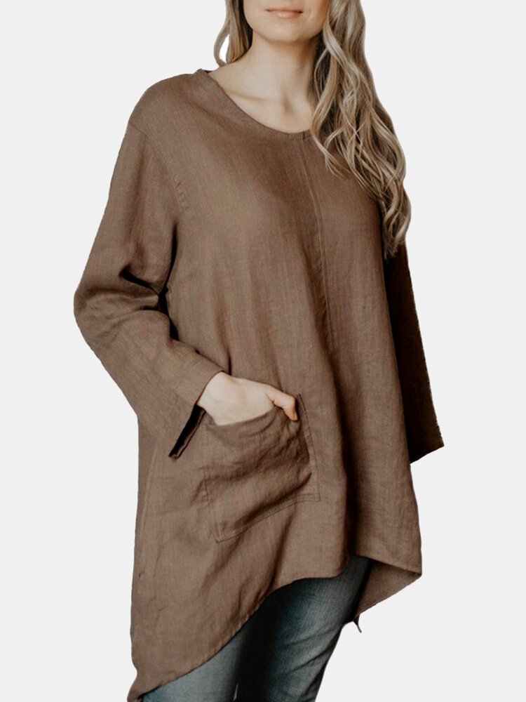 Solid Color Long Sleeve O-neck Asymmetrical Blouse For Women
