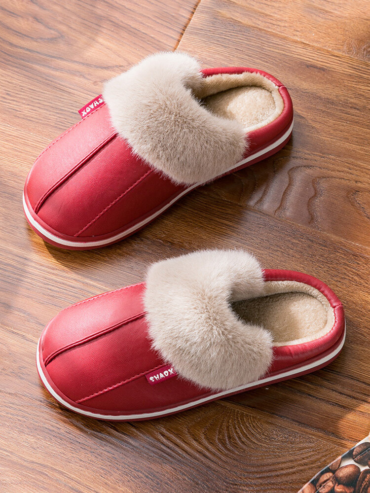Soft Comfortable Warm Plush Waterproof Upper Closed Toe Home Shoes For Women