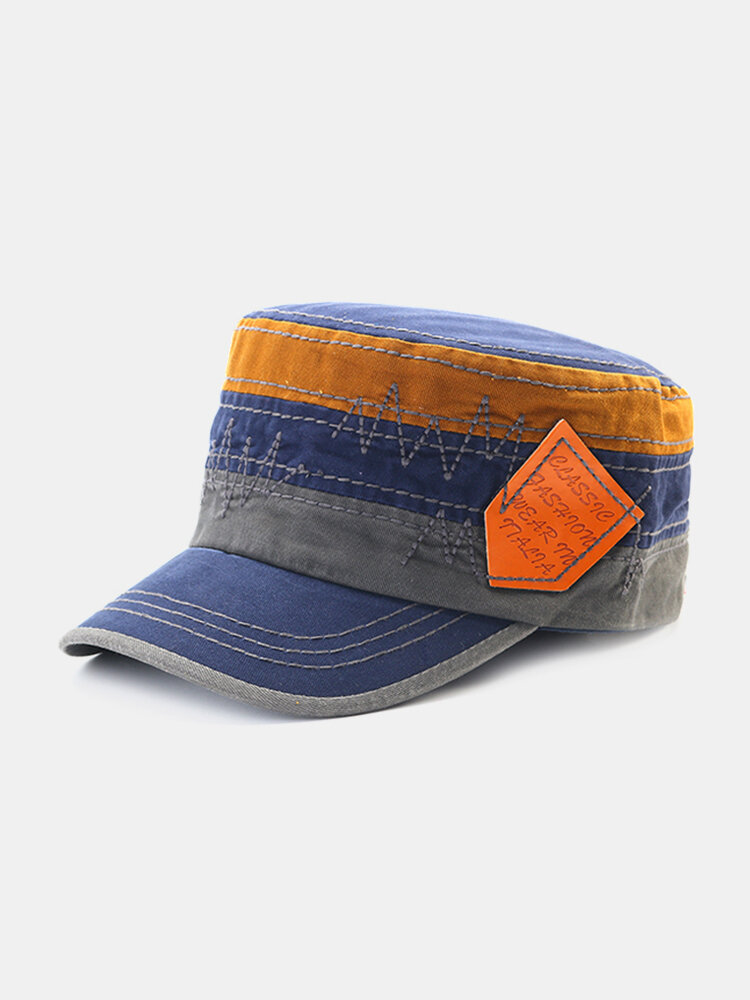 Unisex Embroidery Cotton Military Cap Travel Leisure Flat Top Hat Colorful Peaked Cap