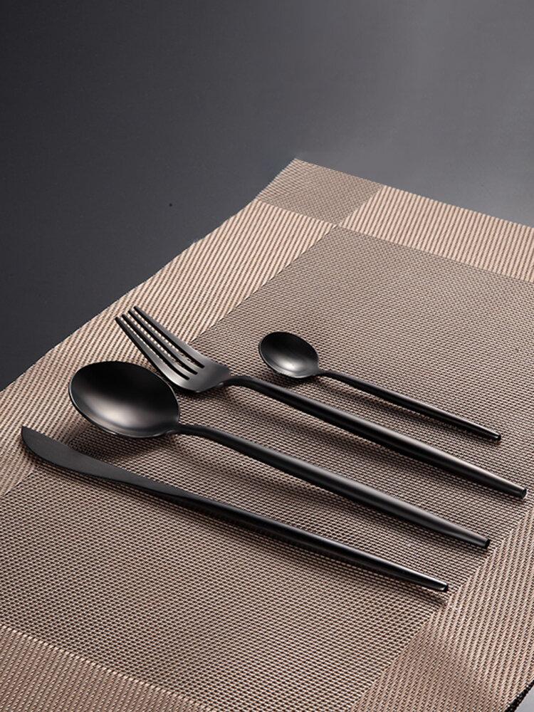 KCASA FL2 Набор столовых приборов из нержавеющей стали для пищевых продуктов 304, 4 шт., Матовая столовая посуда