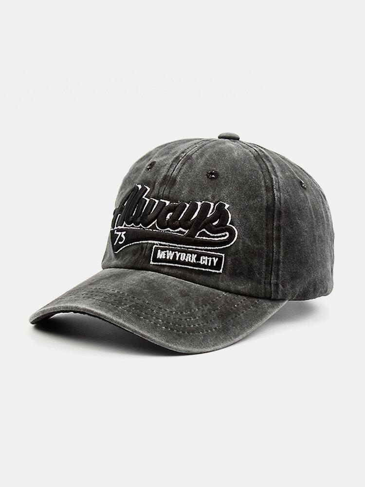 Hommes Coton Lavé Lettre Motif Patch Casquette De Baseball Pare-Soleil Extérieur Chapeaux Réglables