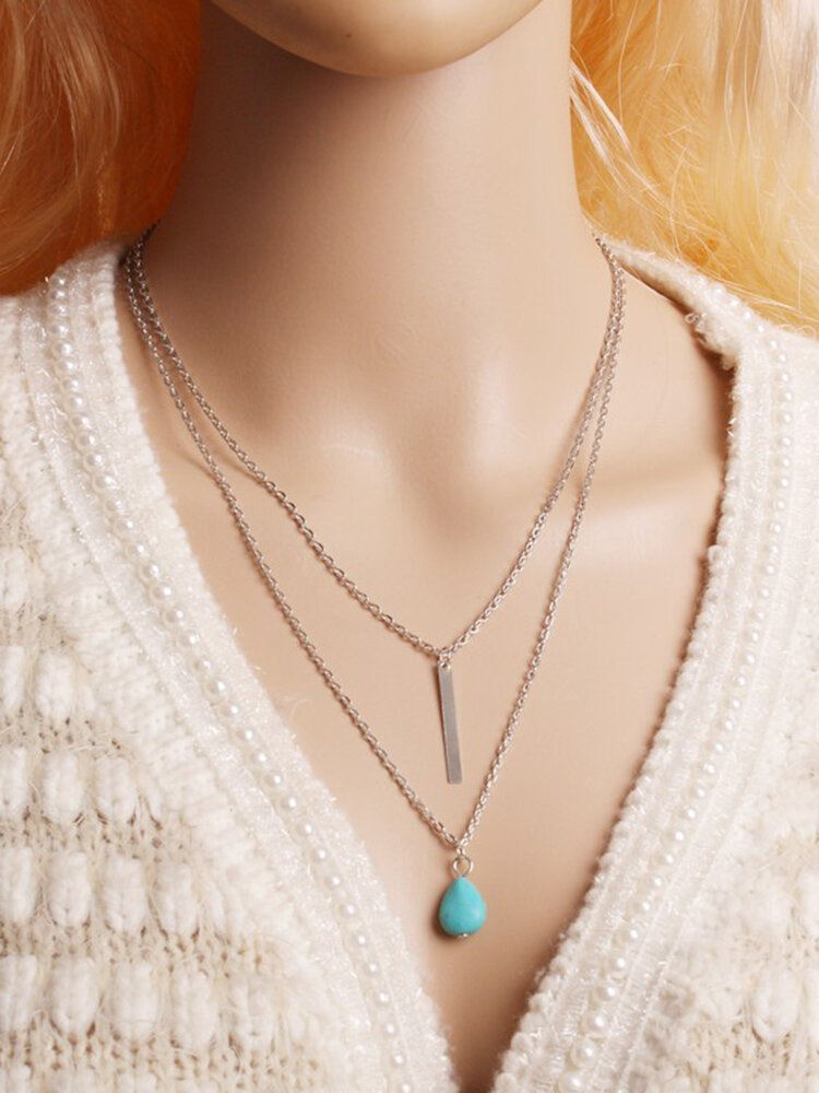 Bohemian Muitilayer Necklace Drop Turquoise Bar Tassel Charm Chain Best Friend Necklace for Women