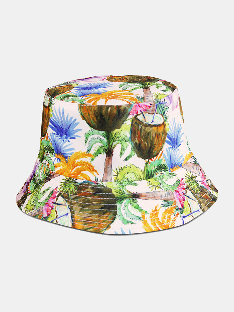 Unisex Cotton Overlay Plant Graffiti Print Double-sided Wearable Fashion Sun Protection Bucket Hat
