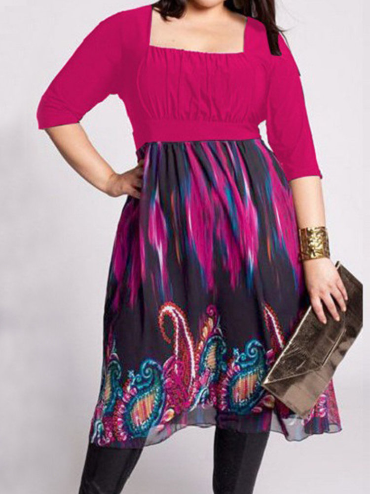 Maternity 3/4 Sleeve Floral Print Maxi Plus Size Patched Dresses