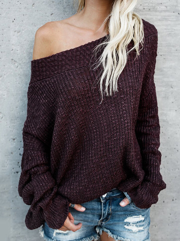 Casual Solid Color Off-the-Shoulder Knitted Sweater