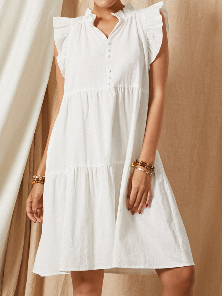 Solid Color V-neck Sleeveless Ruffle Casual Dress For Women