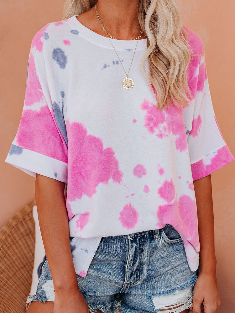 Tie-dyed Print Short Sleeve O-neck T-shirt For Women