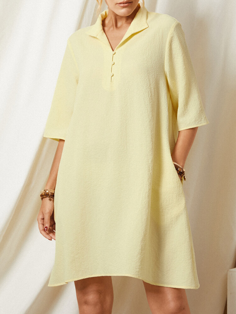 Solid Color Lapel Pocket Half Sleeve Casual Dress For Women