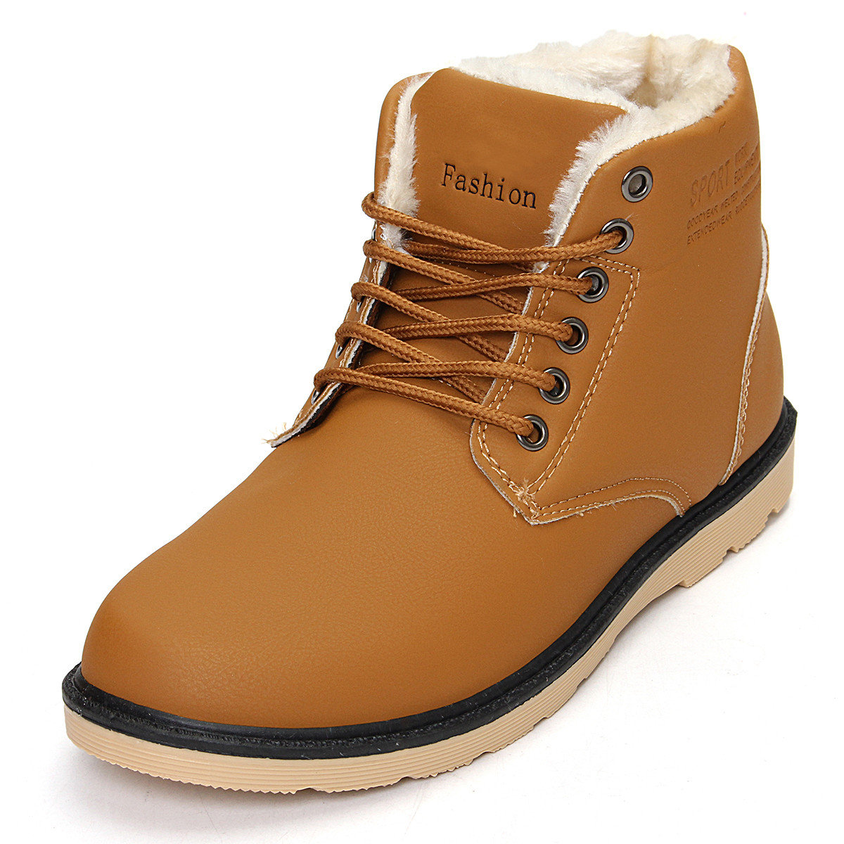Warm Plush Lining Lace Up Winter Ankle Boots For Men