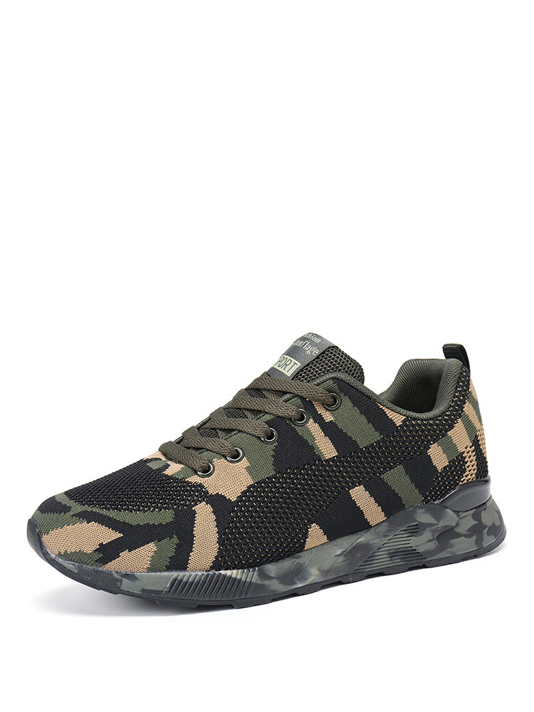 Women Comfort Casual  Mesh Round Toe Lace Up Camouflage Running Shoes