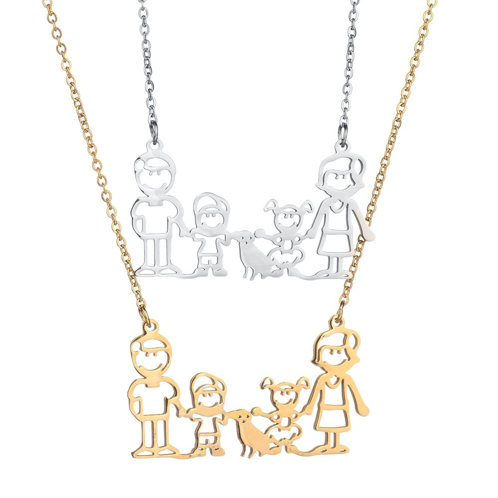 Fashion Stainless Steel Family Necklaces Father Mother Boy Girl Dog Pendant Necklaces Gift