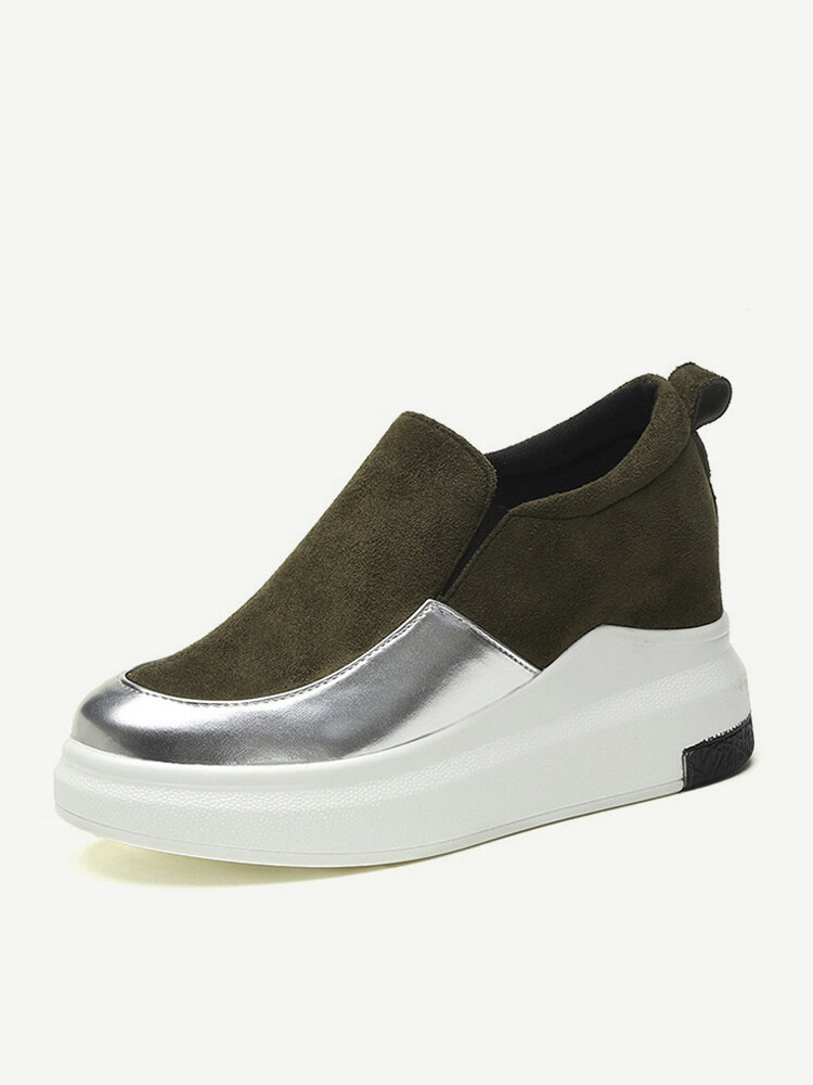 Stylish Patented Leather Platform Sneakers