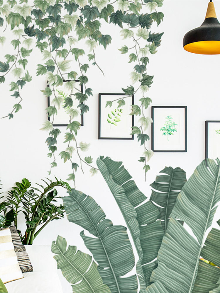 1PC Green Leaves Wall Stickers for Home Bedroom Living Room Tropical Plants Wall Sticker Vinyl Wall Decals Door Murals Wallpaper