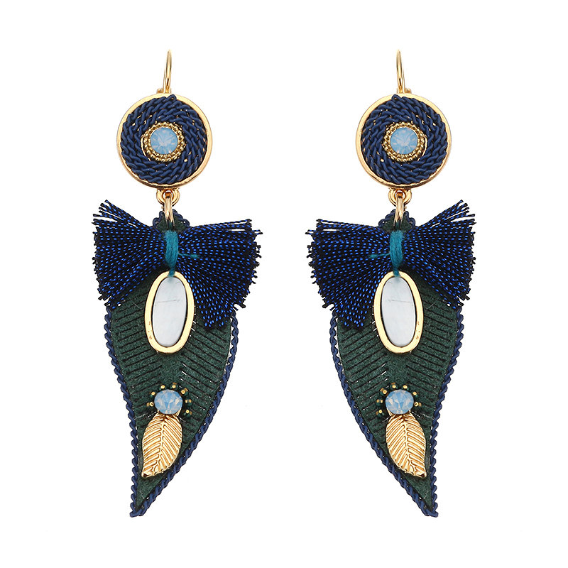 Trendy Leaf Shape Earrings Crystal Exquisite Winter Accessories Gold Plated Ear Drop for Women