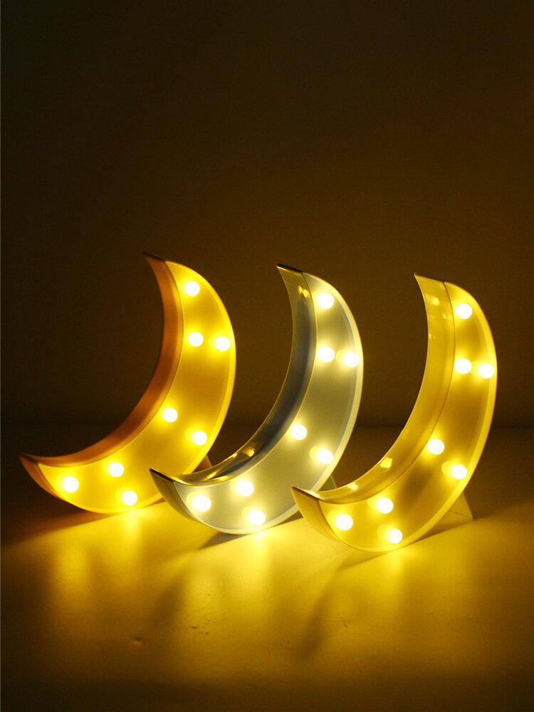 Cute Moon LED Night Light Wall Battery Lamp Baby Kids Bedroom Home Decor