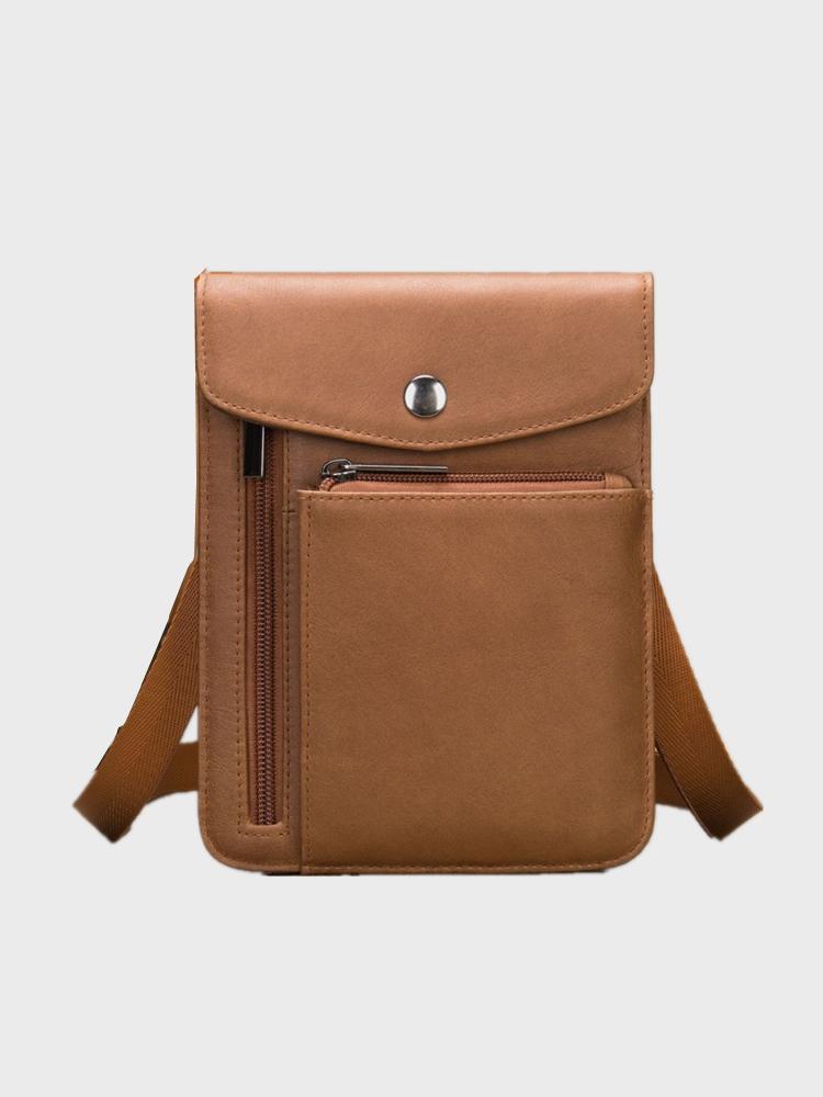 Men Brown Genuine Leather Cow Leather 6.5 Inch Phone Crossbody Bag Shoulder Bag