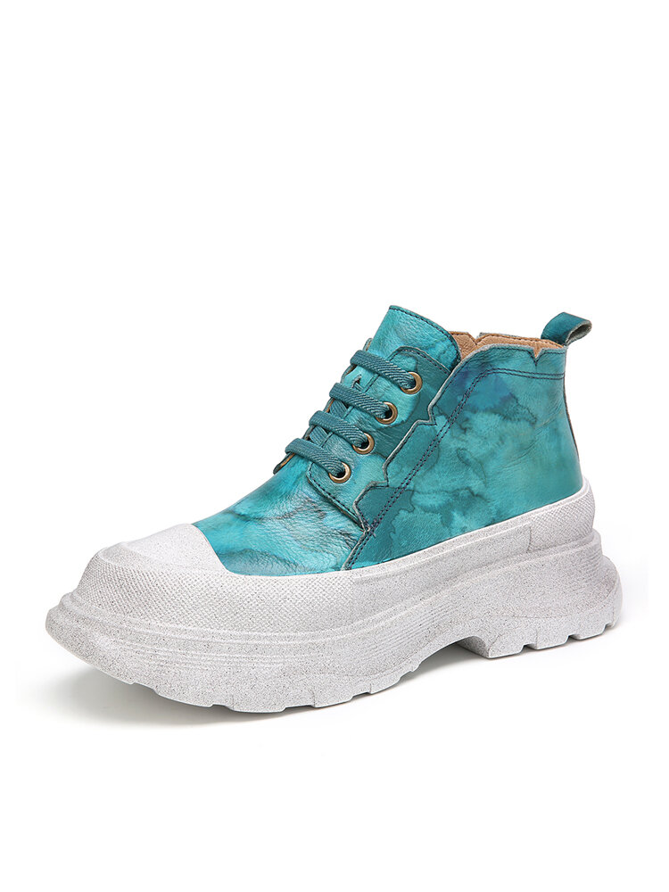 SOCOFY Tie Dye Printed Leather Round Toe Lace-up Platform Casual Flat Shoes Sneakers
