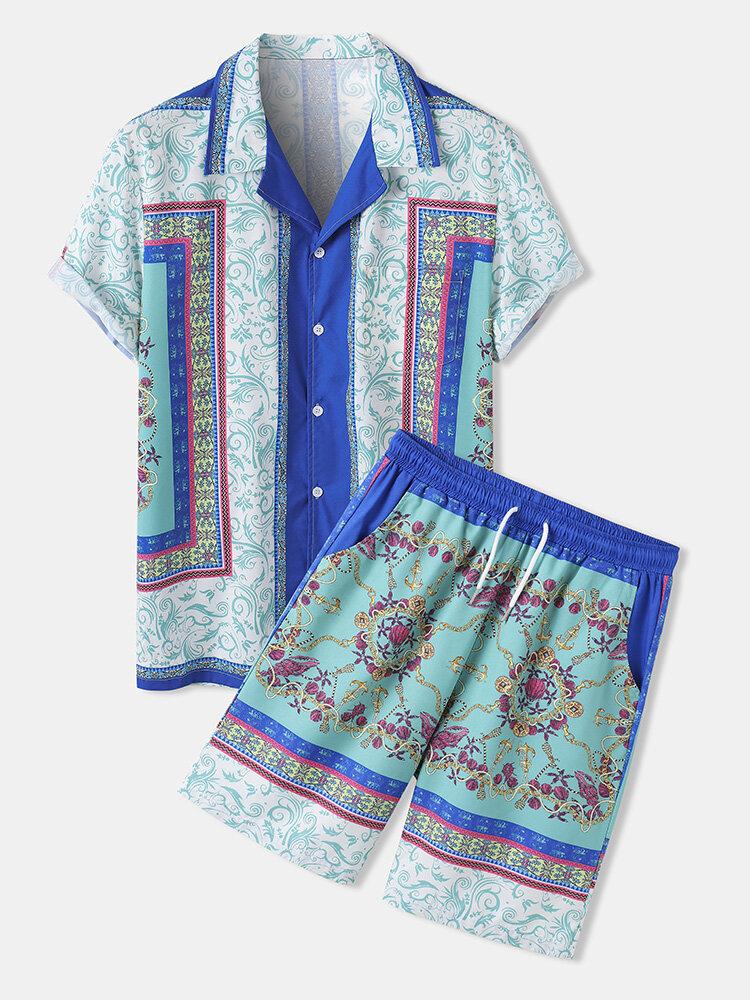 Herren Revere Collar Barock Print Hemd & Shorts Street Outfits