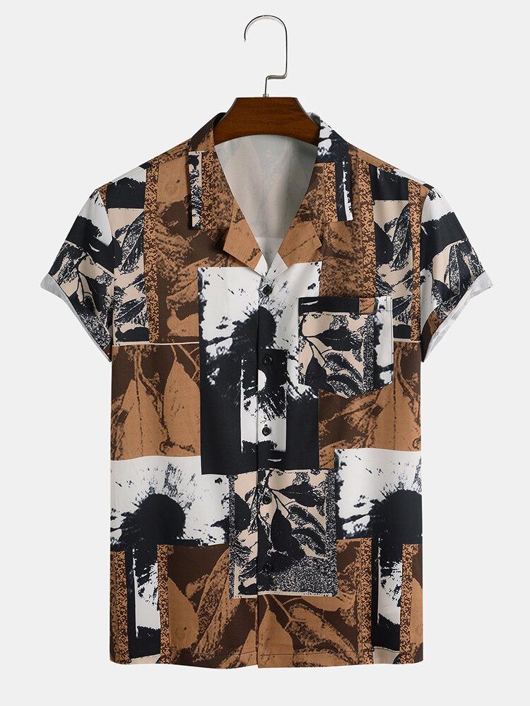 Mens Vintage Color Block Revere Collar Button Up Short Sleeve Shirt