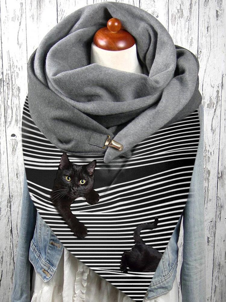 Женское Полоса Симпатичная Кот Шаблон Soft Личность Шея Защита Сохраняет тепло шарф