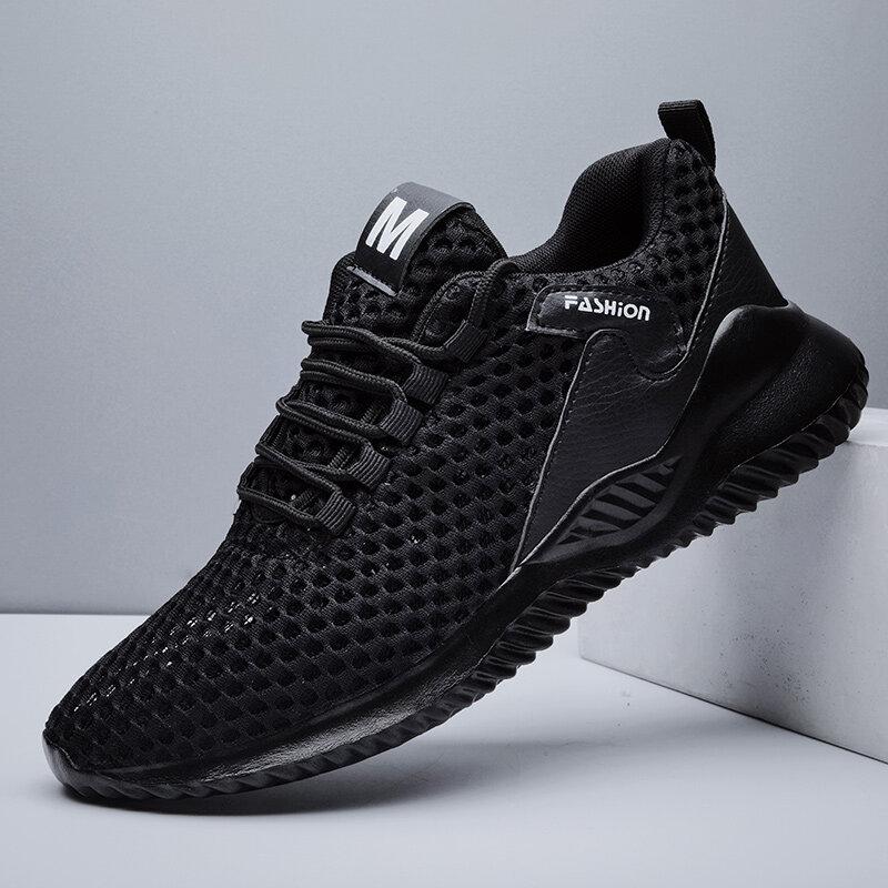 Men Fabric Mesh Breathable Lace Up Sport Casual Sneakers