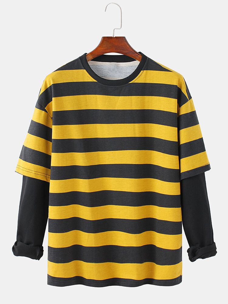 Mens Horizontal Stripes Cotton Patchwork Doctor Sleeves Casual Crew Neck Sweatshirts