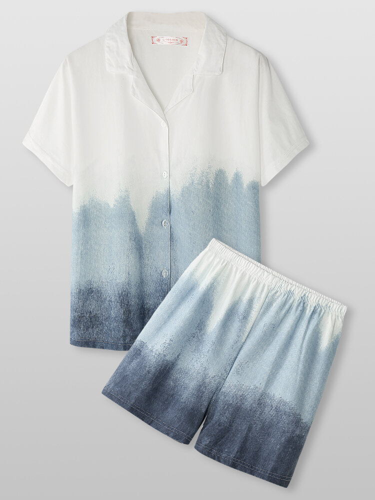 Women Ombre Revere Collar Short Sleeve Home Pajama Sets