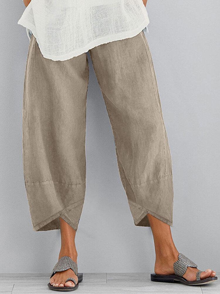 Сплошной цвет Elasitc Waist Plus Размер Повседневный Брюки для Женское
