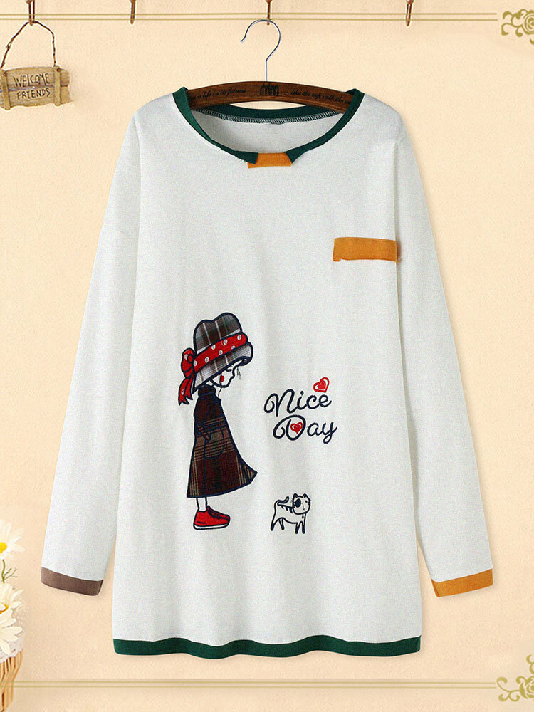 Cartoon Embroidery Crew Neck Plus Size Pullover Cotton Sweatshirt