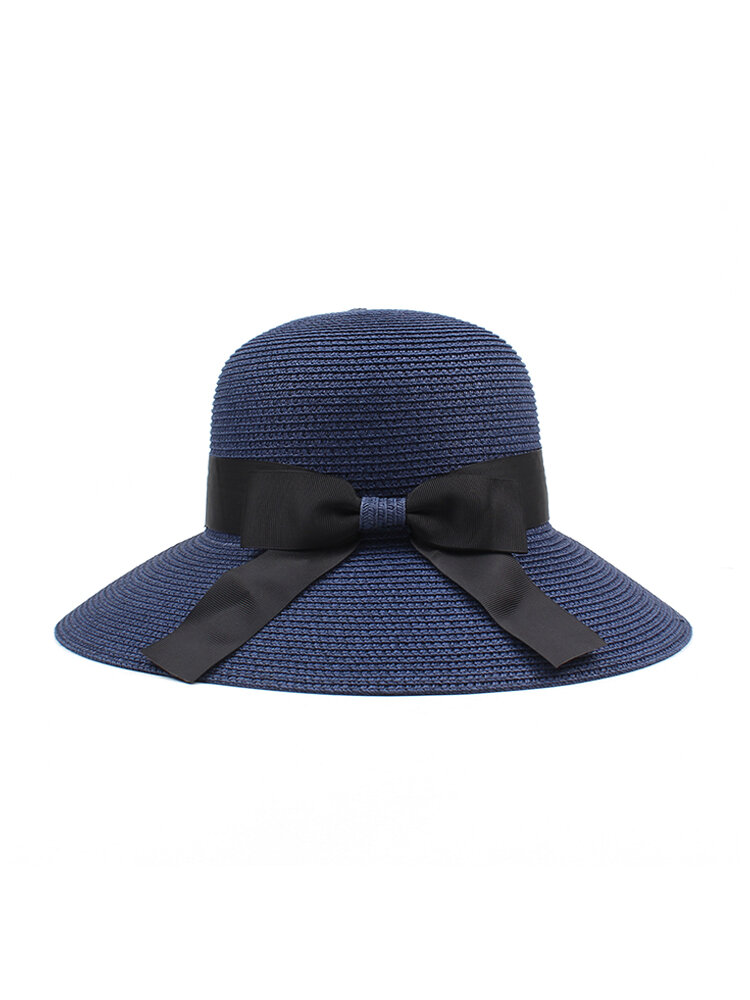 Women Summer Straw Wide Brim Straw Hat Casual Sunscreen Visor Beach Sun Hats